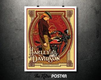 Harley Davidson Motorcycle Poster, Milwaukee, Wisconsin - Motorcycle Gifts, Motorcycle Art, Motorbike, Motorcycle Poster Vintage, Bike