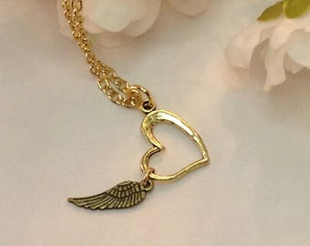 Heart wing necklace charm