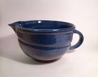 stoneware mixing bowl, pottery bowl, pottery mixing bowl, batter bowl, blue pottery, blue mixing bowl, blue pottery, ceramic bowl