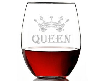 Royal Queen Engraved 15 oz Wine Glass Stemless - Birthday Gift - Mother's Day Gift - ST15OZ-AR134M