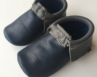Two-tone Leather Baby Moccasin