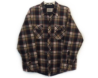 Saugatuck 1980s Flannel Shirt - Soft, Thick, Quilted Lining - Red, Brown, Black - Size 2X - Vintage 1980s