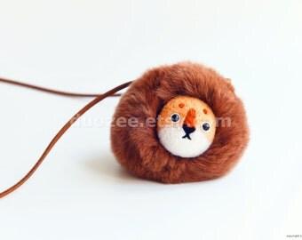 Handmade Needle Felted Lion Necklace or Ornament, Felted Lion, Felt Lion, Waldorf animals