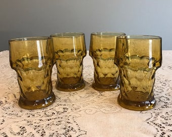 Set of 4 Vintage Amber Thumbprint Water Drinking Glasses