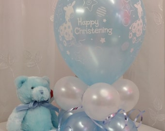"""Christening Balloon Table Decoration in Blue AIR ONLY Easy DIY 22"""" Tall"""