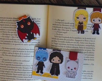 Magnetic bookmarks - Game of Thrones, GOT, George RR Martin, Daenerys, Drogon, Tyrion Lannister, Jon Snow, Ghost, Night King