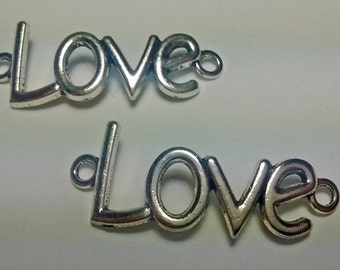 Clearance! 2 Double Connecter Love Pendents Charms For Bracelet Making - DIY - #056