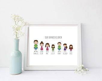 Cartoon Grandchildren Family Print