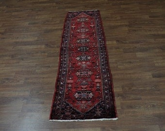 Tribal Runner Hand Knotted Mussel Hamedan Persian Oriental Area Rug Carpet 3X10