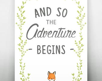 """Woodland """"And so the Adventure Begins"""" Printable"""