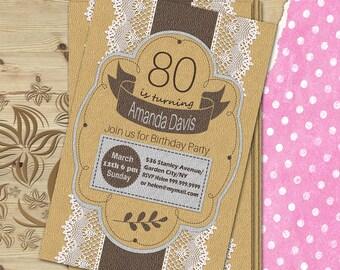 80th birthday invite Digital woman birthday invitation Birthday invitation idea Printable birthday card Printable birthday invite