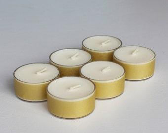 Handmade Soy wax Tealights in Shades of Gold