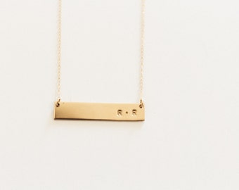 Initial Bar Necklace / Double Initial Necklace / Personalized Necklace