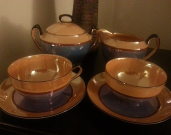 Noritake Lusterware Creamer and Sugar Bowl Set with 2 Teacups and Saucers