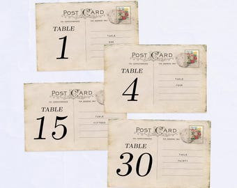 Table Numbers 1-30, Vintage Postcard Design, 4x6 inches (Printable)