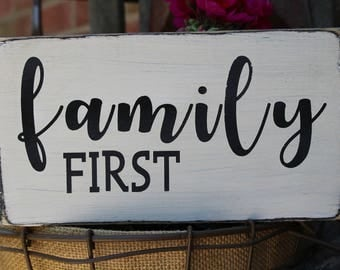 Family First Wood Sign, Wedding Sign, Wedding Decorations, Marriage Sign, Family Sign, Farmhouse Sign, Love Sign, Reception, Handpainted