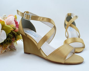 Gold Bridal Wedges, Bridesmaids Wedges, Bridal Shoes, Wedding Wedges, Destination Wedding Shoes