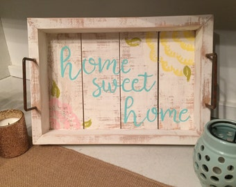 Home Sweet Home White Rustic Distressed Tray, Home Sweet Home Tray, Spring Decor, Rustic Spring Decor