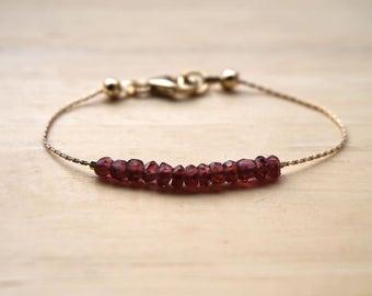 Garnet Bracelet, Gold Filled Gemstone Bracelet, January Birthstone, Minimalist Bracelet, Thin Gemstone Bracelet, Garnet Jewelry