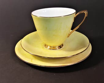 english royal albert bone china gossamer pattern yellow white gold cup saucer plate set fine dining