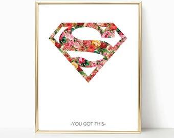 Superwoman, superhero print, Supergirl Print, Superwoman Print, Girl Superhero Wall Art, Girl Room Prints, Girl Superhero