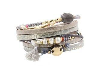 Wrap Bracelet.  Multi layer with beads and tassel.  Magnestic fastening