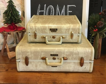 Large Vintage Samsonite Suitcase , White Marble Samsonite Suitcase , Stackable Suitcase, Vintage Luggage - Large Only Available
