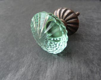 Aqua Green Glass Crystal Knob Drawer Knob  Door Knob Handles