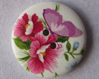 30mm wooden painted button