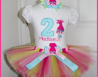 New Poppy Troll tutu Birthday outfit  Personalized with name