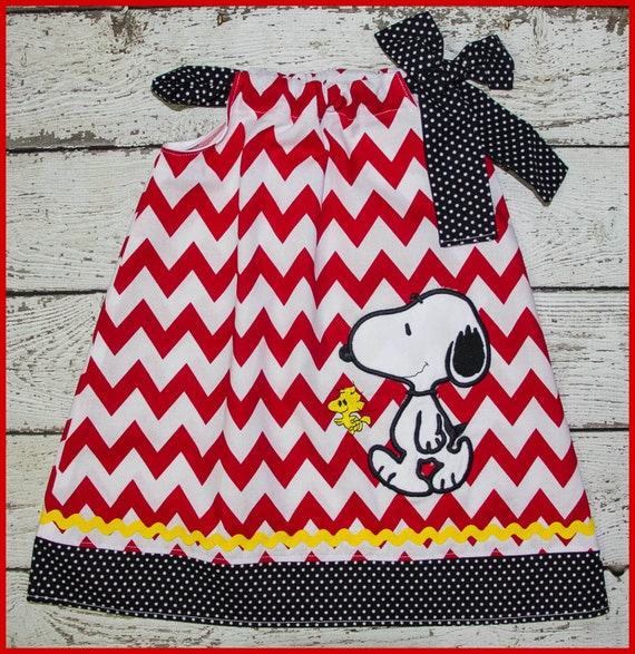 Peanuts Snoopy and Woodstock  Pillowcase style dress Red Chevron and yellow polka dot