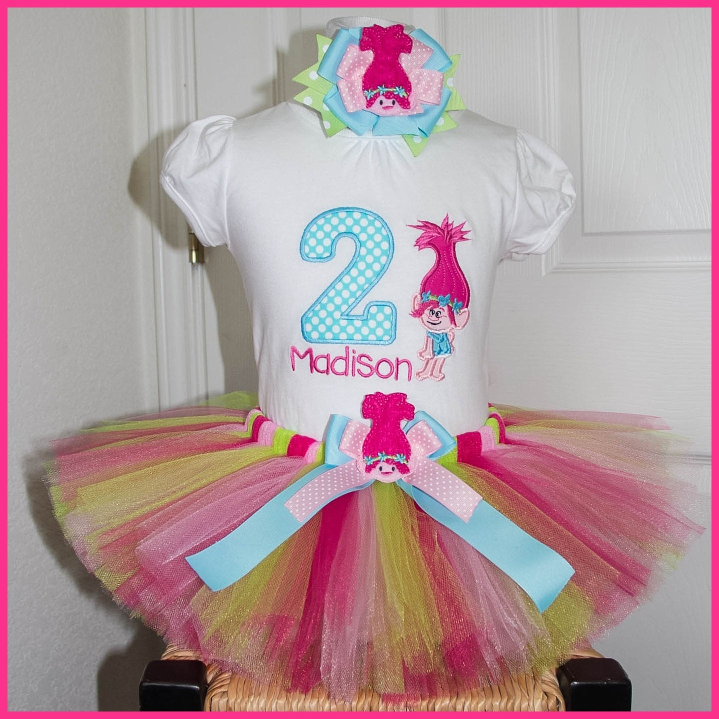 Birthday Party Outfit: New Poppy Troll Tutu Birthday Outfit Personalized With Name