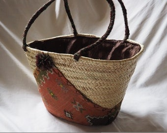 Moroccan hand woven market basket, market tote