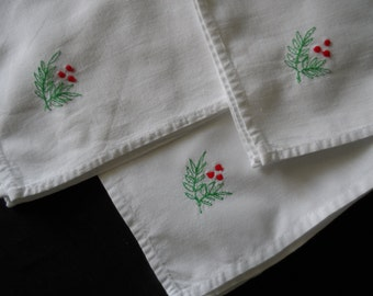 Vintage White Cotton Dinner Napkins Machine Embroidered Red Buds, Green Stem and Leaves    935