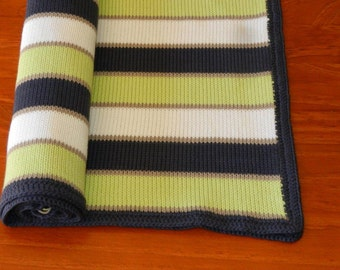 Baby pram blanket stripe machine knit cotton