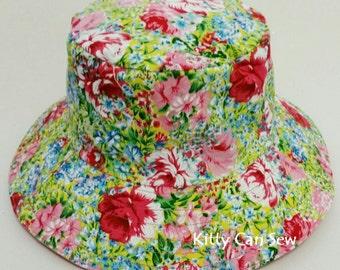 Girls floral sun hat, girls hat, floral hat, girls sun hat, floral sun hat, beach hat, pretty sun hat, wide brimmed hat, wide brim sun hat