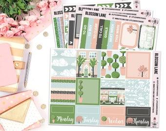 Blossom Lane || Horizontal Planner Sticker Kit, Planner Stickers, Spring Sticker Kit, Planner Decor, No White Space Planner Kit