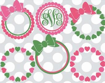 circle svg, circle monogram svg, svg set, Pearl svg, Pearl monogram svg, Bow svg, monogram svg, SVG, dxf, eps, Heart svg, pearls, circle svg