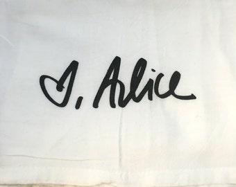 Handwriting Towels   Custom Flour Sack Wedding Gift Signature Note Loved Ones Family Special Tea Towel Mom Grandma Wedding Personalized