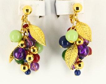 Vintage Lucite Grapes Clip On Earrings - Big Long Dangle Earrings - Mid Century Modern, Retro Lucite Jewelry, Oversized Earrings Mad Men Mod