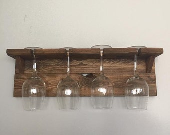 Wine Glass Holder, Floating Shelf, Wall Mounted Wine Rack, Wine Glass Rack, Wood Wine Rack, Wood Decor, Bar Wall Decor, Housewarming Gift