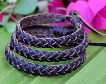 3 PCS!! Braided leather bracelets cuffs . Adjustable size. Natural tones. Genuine leather.