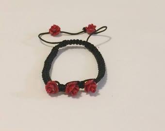 Stylish Red Rose Bracelet