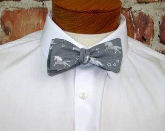 The Will - A Silver Unicorn on Gray Cotton Bowtie