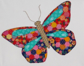 Colourful Patchwork Butterfly Box Canvas