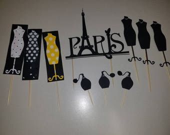 Paris Theme Party Decorations, cupcake/ cake toppers, centerpieces
