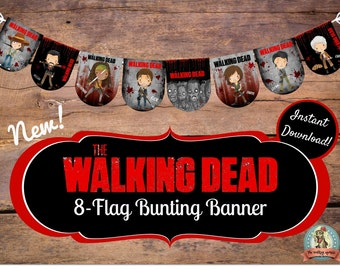 WALKING DEAD BANNER, bunting, Birthday Banner, Birthday Bunting, Viewing Party, Daryl Dixon, Rick Grimes, Negan, Michonne, Zombie Party