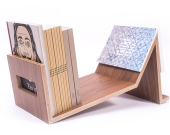 Wood bookshelves, walnut bookends, wooden book rack, shelving, book holder, stand, portable bookshelf, book lover gift, housewarming gift