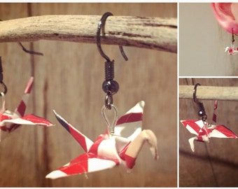 Origami paper cranes red & white earrings