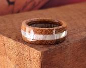Elk Antler Whiskey Barrel Wood Ring - Wooden Ring Men Wedding ring Engagement Ring Woman Anniversary